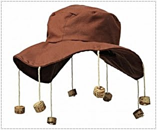 Gardening blog humour: hat with corks