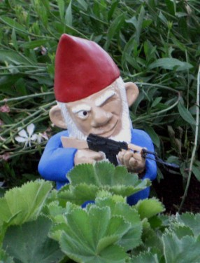 Gardening humour: armed gnome